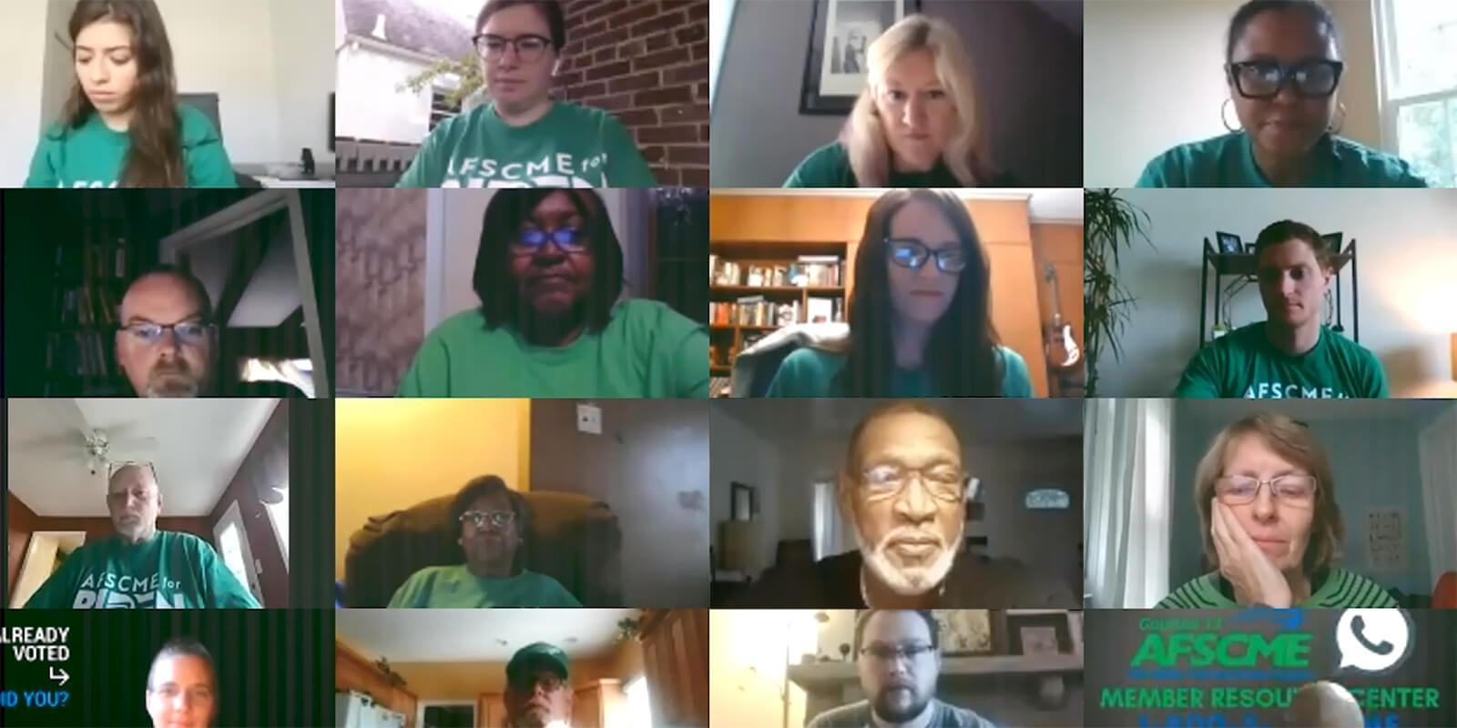 Volunteers wearing AFSCME green